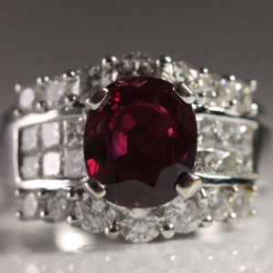 Natural GIA Certified Ruby Diamond Ring