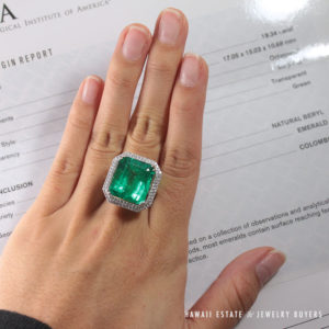 Natural Colombian Emerald Ring GIA 19.34cts