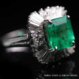 Natural 6.36ct Colombian Emerald Diamond Ring