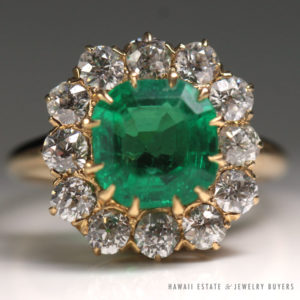 Antique 1920's Natural Colombian Emerald Old European Diamond Ring