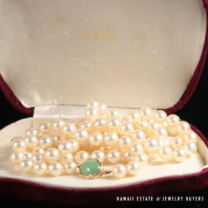"""Ming's Hawaii Jade Clasp 32"""" Pearl Necklace"""