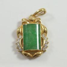 Green Jadeite Jade & Diamond 18K Yellow Gold Pendant