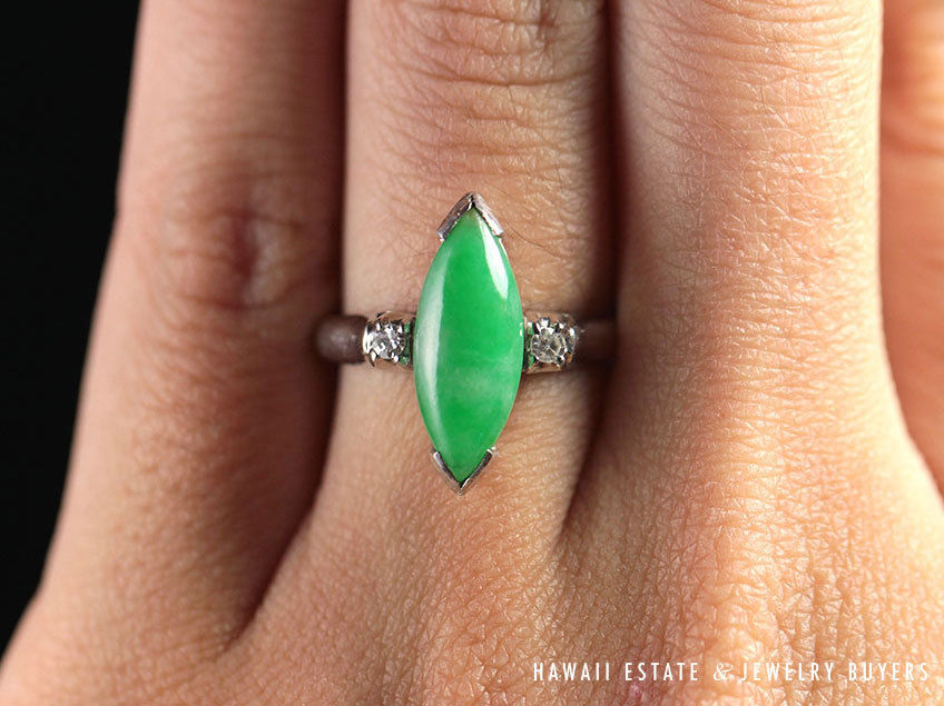 If you're feeling green this Saint Patrick's Day, apple green marquise jade ring.