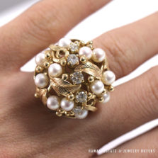 MING'S HAWAII PEARL CLUSTER DIAMOND LARGE DOME 14K YELLOW GOLD RING (SZ 4.5-5)