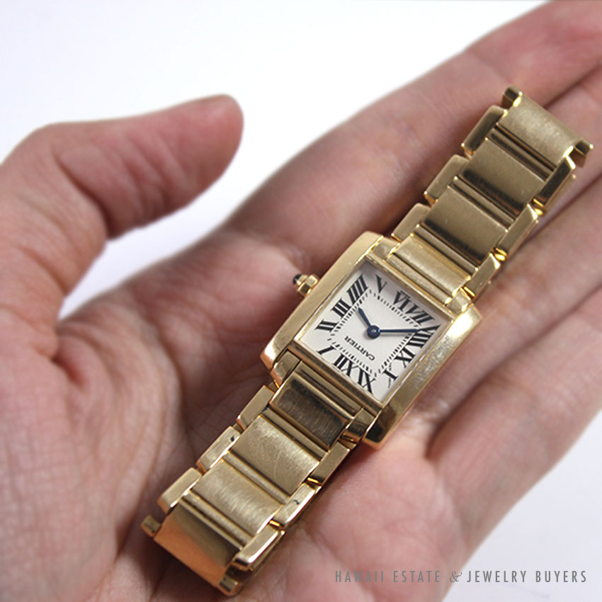 CARTIER TANK FRANCAISE SMALL 18K YELLOW GOLD LADIES WATCH