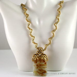 IMPORTANT 19C CHINESE MUTTON FAT WHITE JADE CARVED OX W/HEAVY 14K YELLOW GOLD CHAIN NECKLACE